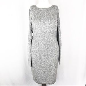 Express Gray Long Sleeve Knit Sweater H09